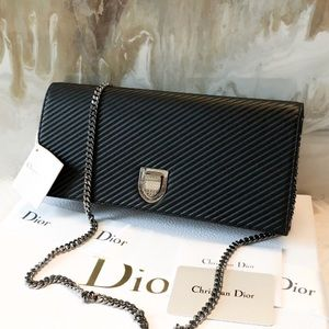 Dior Chevron Black Lambskin Diorama Chain Bag